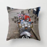 vespa Throw Pillows featuring Vespa by Organdie