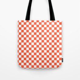 Jumbo Living Coral Color of the Year Orange and White Checkerboard Tote Bag