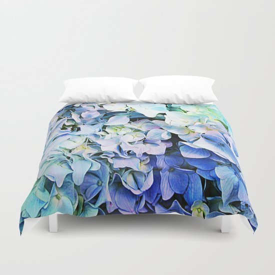 Soft Tri-Color Pastel Hydrangea Duvet Cover