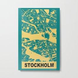 Stockholm, Sweden, city map, Teal Metal Print