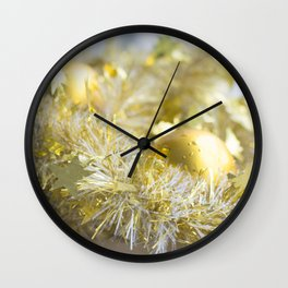 Christmas tinsel and baubles in gold Wall Clock