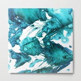 Teal Waves Metal Print