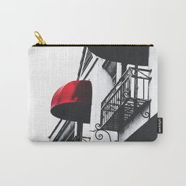 building with porch and red awning in the city Carry-All Pouch