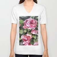 botanical V-neck T-shirts featuring Botanical Beauty by lillianhibiscus
