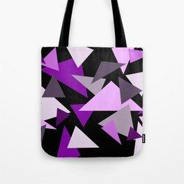 Purple Triangels on black background Tote Bag