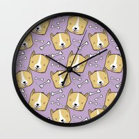 corgi Wall Clocks featuring Corgi Pattern by Noreen Torelli