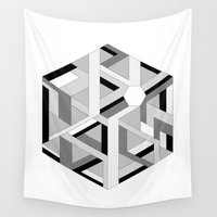 hexagon Wall Tapestries featuring Hexagon monochrome by eDrawings38