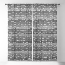 Four Shades of Black with White Squiggly Lines Sheer Curtain