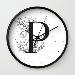 Black Letter P Monogram / Initial Botanical Illustration Wall Clock