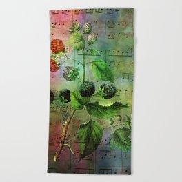 Blackberry Music, Vintage Botanical Illustration Collage Art Beach Towel