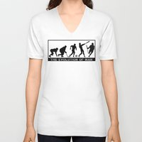 lacrosse V-neck T-shirts featuring Lacrosse Evolution Of Man by YouGotThat.com
