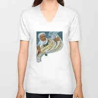 maori V-neck T-shirts featuring Koro, the Maori Storyteller by Patricia Howitt