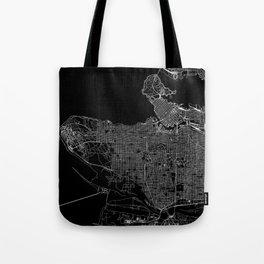 Vancouver Black Map Tote Bag