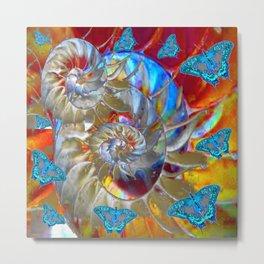 SURREAL MODERN ART BLUE BUTTERFLIES ABSTRACT Metal Print