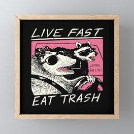 Live Fast! Eat Trash! Framed Mini Art Print