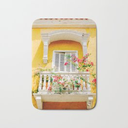 Colorful Yellow Balcony in Cartagena, Colombia Bath Mat