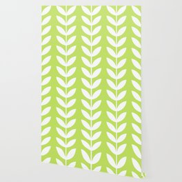 Lime Green and White Scandinavian leaves pattern Wallpaper