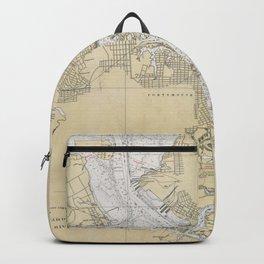 Vintage Norfolk Harbor & Elizabeth River Map (1933) Backpack