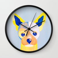 chihuahua Wall Clocks featuring Chihuahua  by Adriannedesignss