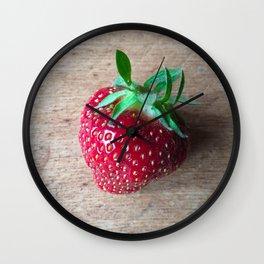 Lone Strawberry on the Cutting Board Wall Clock