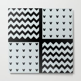 Black/White Chevron/Polka Toon Mouse Ears Pattern Zigzag Fun Metal Print