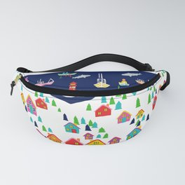 Scandinavian Rainbow Village and Fishing boats in the Fjord Fanny Pack