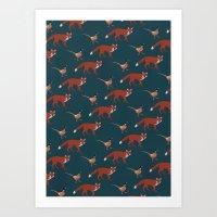 Fox and Pheasant Art Print