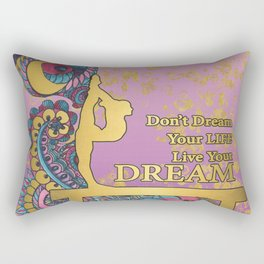 Gymnastics- Live your Dream- In Purple Gradient and Gold Watercolor Doodle Design Rectangular Pillow