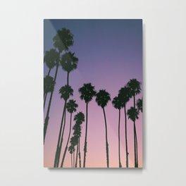 Purple Sunset Palm Trees Metal Print