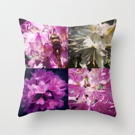 Rhododendron & dragonfly Throw Pillow