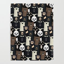 Bears of the world pattern Poster