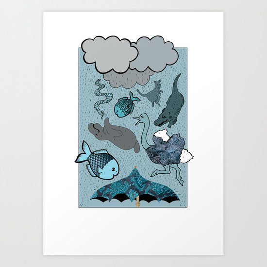 Raining Animals Art Print
