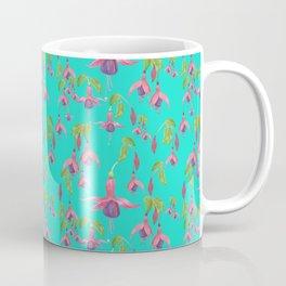 Watercolour Fuchsia Flower Pattern - Dark Teal Coffee Mug