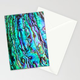 Glowing Aqua Abalone Shell Mother of Pearl Stationery Cards