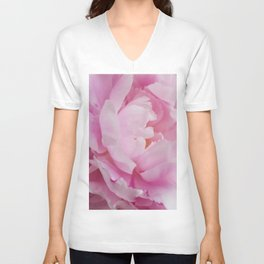 Floral Fun - Peony in pink 4 soft and billowy Unisex V-Neck