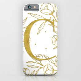 Letter C Gold Monogram / Initial Botanical Illustration iPhone Case