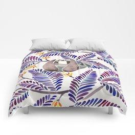 Happy Sloth – Tropical Indigo Leaves Comforters