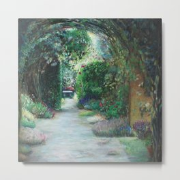 Secret Garden Green and Gray Impressionist Oil Painting Metal Print