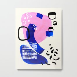 Fun Colorful Abstract Mid Century Minimalist Pastel Pink Royal Blue Organic Shapes Organic Pattern Metal Print