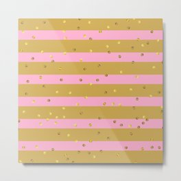 Christmas Golden confetti on Gold and Pink Stripes Metal Print