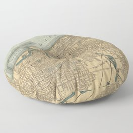 Vintage Map of Cleveland OH (1894) Floor Pillow