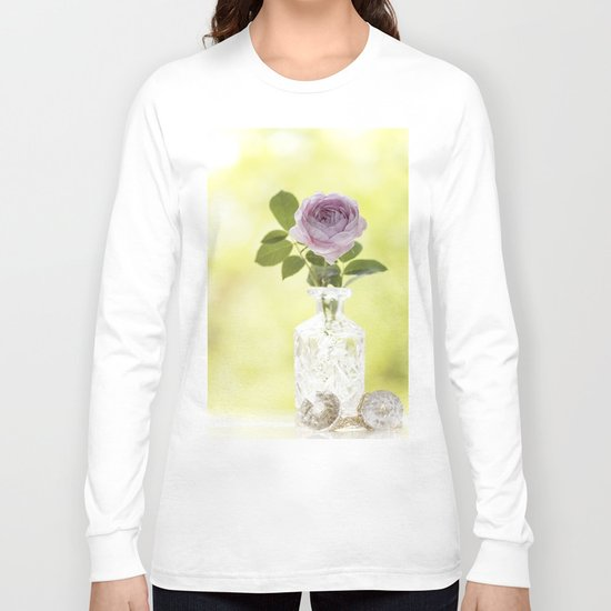 Pink Rose in crystal vase- Stilllife Roses Flowers photography Long Sleeve T-shirt