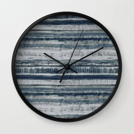 Expressive Indigo Watercolor Stripe Wall Clock