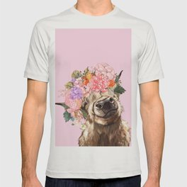 Highland Cow with Flowers Crown in Pink T-shirt