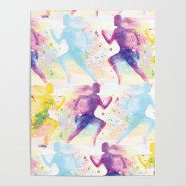 Watercolor women runner pattern Poster
