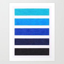 Colorful Blue Stripe Pattern Art Print