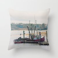 cape cod Throw Pillows featuring Cape Cod Fishing Boat by ELIZABETH THOMAS Photography of Cape Cod