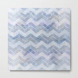chevron blue and white Metal Print