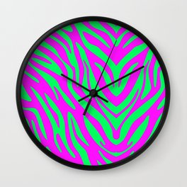 Pink and Green Zebra Wall Clock