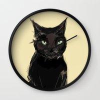 black cat Wall Clocks featuring Black Cat by Jaleesa McLean